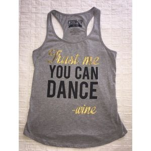 Funny Gray Chin-up Racerback Tank for Wine Lovers